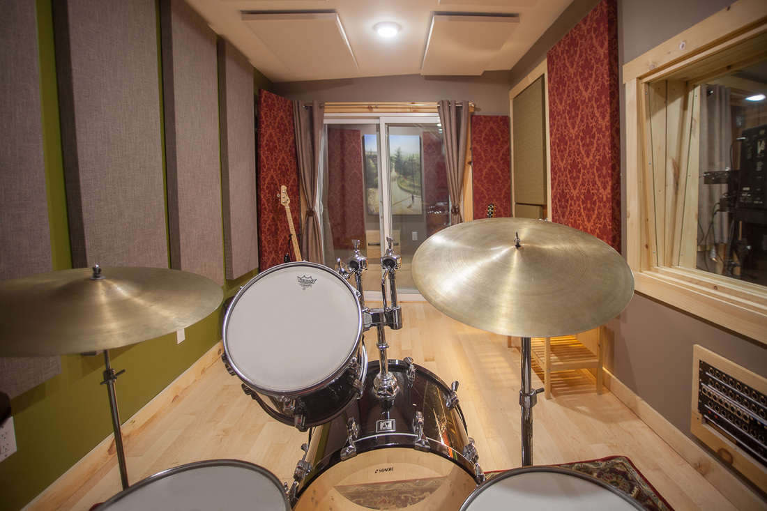 Drums set up for recording in the live room at Silverthorn Studios