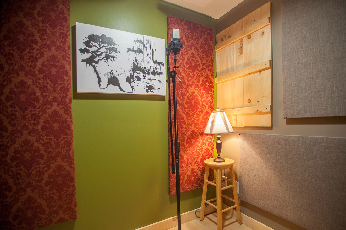 Ideal for voice recording, Silverthorn Studios' vocal booth is fully equipped, completely isolated, and colourful